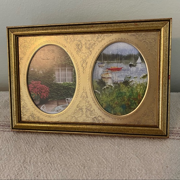 Vintage '80s Victorian Retro Gold Frame Two Ovals